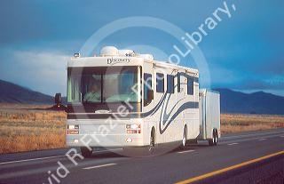 Motor home traveling on Interstate 80 near Winnemucca, Nevada.
