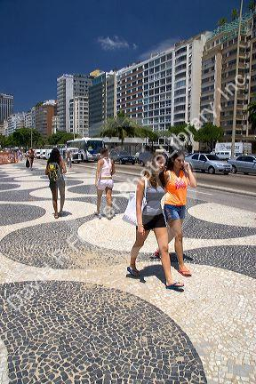 Wave pattern sidewalk at the Copacabana Beach in Rio de Janeiro, Brazil.
