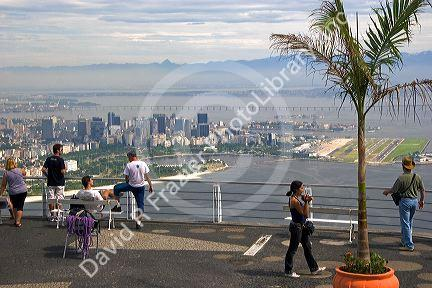 Visitors view Rio de Janeiro from Sugarloaf Peak, Brazil.