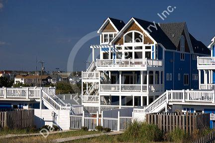 Newly constructed two story beach house at Kitty Hawk, South Carolina.