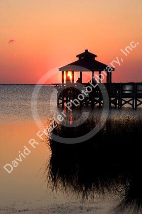 Sunset on Abelmarle Sound at Kitty Hawk, North Carolina.