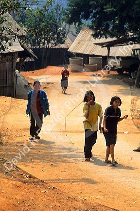 Children in a Hmong Hill Tribe village in Ban Nong Hoi, Thailand.
