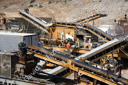 Rock crusher with conveyor belts at a gravel pit near Emmett