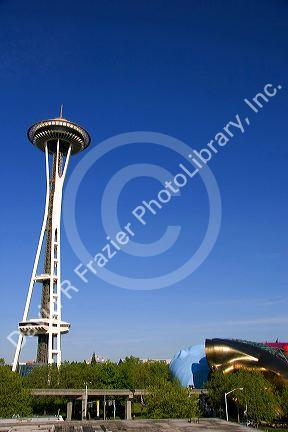 The Space Needle and the Experience Music Project in Seattle, Washington.
