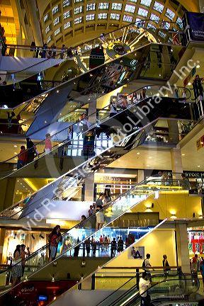 Mirrored escalators inside the Abasto Shopping Centre in Buenos Aires, Argentina.