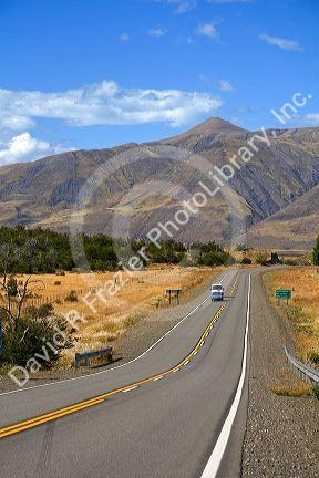 Vehicles travel on a highway near El Calafate, Patagonia, Argentina.