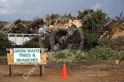 Green waste recyclable materials at the Ada County Landfill in Boise, Idaho.