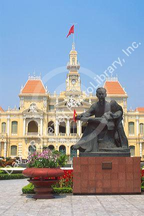 A statue of Ho Chi Minh in front of City Hall in Ho Chi Minh City, Saigon, Vietnam.