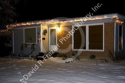 ranch style residential home decorated with christmas lights in boise idaho usa - How To Decorate A Ranch Style Home For Christmas