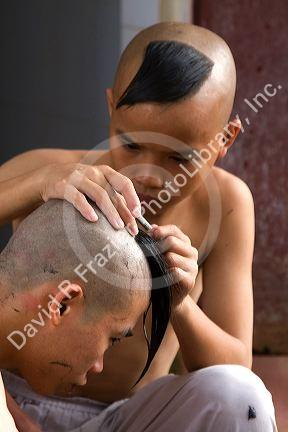 Buddhists shaved heads