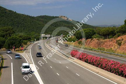 Vehicles travel on the A8 autoroute, La Provencale, in Southern France.