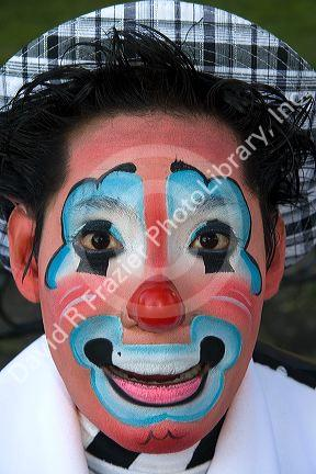 A male clown performer in the city of Puebla, Puebla, Mexico.
