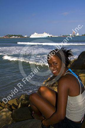 costa rican afro caribbean woman on the beach with the aidaaura
