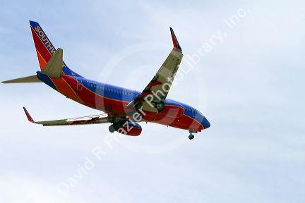 Southwest airlines Boeing 737 aircraft on final approach to the Boise Airport, Idaho, USA.