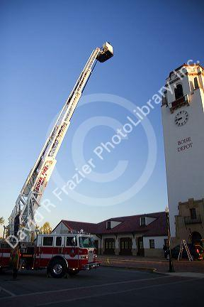firetruck testing 100 foot aerial ladder at the boise union pacific