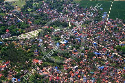 Aerial view of the countryside and housing near Hanoi, Vietnam.