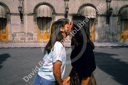 Two mexican women greeting each other in mexico city mexico two mexican women greeting each other in mexico city mexico m4hsunfo