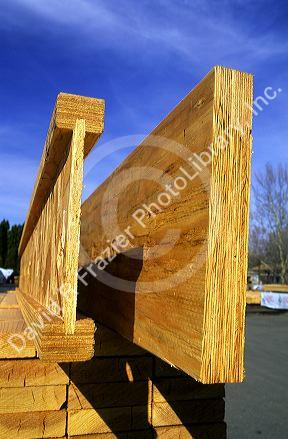 End View Of A Laminated Header On Right And I Beam Engineered Wood Beams
