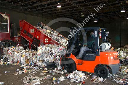 Recycling paper at a facility in Boise, Idaho.