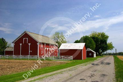 Red barn and farm near Bryan, Ohio.
