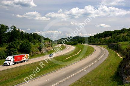 Automobiles travel on Interstate 40 near West Fork, Arkansas.