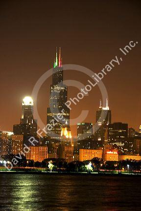Chicago skyline and the Sears Tower at night, Illinois.