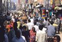 Crowded street scene in Bangalore, India.