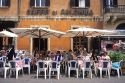 An outdoor cafe at the Piazza Navona in Rome, Italy.
