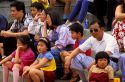 Chinese people sitting in a crowd, Taiwan.