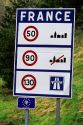 Speed limit signs at the French, Italian border.