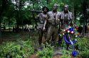 Statues of soldiers at the Vietnam War Memorial in Washington DC.