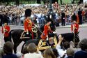 Queen Elizabeth on horseback during the Trooping of the Colour in London, England.