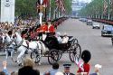 Princess Diana and the Queen Mother ride in a carriage during the Trooping of the Colour in London, England.