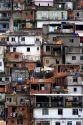 Hillside favela in Rio de Janeiro, Brazil. These slums are home to thousands of poor people squatting on public land.
