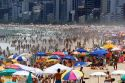 Crowed beach scene at the Ipanema Beach in Rio de Janeiro, Brazil.