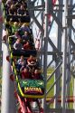 Visitors ride the Mamba roller coaster at Worlds of Fun in Kansas City, Missouri.