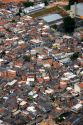 Aerial view of crowded favela housing in Sao Paulo, Brazil.