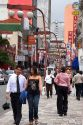 People walking in the Liberdade Asian section of Sao Paulo, Brazil.