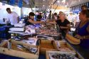 Open air fish market in Sanary Sur Mer, France.