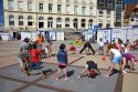 Children play an organized game of ball in the village of Wimereux in the department of Pas-de-Calais, France.