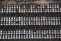 Aerial view of new imported cars at the Port of Houston in Houston, Texas.