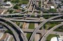 Aerial view of the freeway interchange of Interstate 45 and U.S. Highway 59 in Houston, Texas.