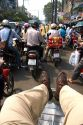 Vietnamese people ride motorbikes in Ho Chi Minh City, Vietnam.