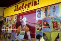 Sign for Loteria Grill inside the Farmers Market in Hollywood, Los Angeles, California, USA.