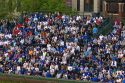 Fans in bleachers watch a Cubs baseball game at Wrigley Field in Chicago, Illinois, USA.