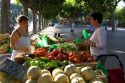 French people shopping at an outdoor produce market in Sanary sur Mer, Southern France.