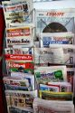 French language newspapers at an airport newsstand in Nice, France.