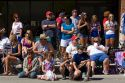 People watching a 4th of July parade in Cascade, Idaho, USA.