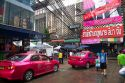 Pink taxi cabs in Bangkok, Thailand.