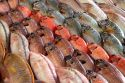 Colorful fish display at the Papeete Market on the island of Tahiti, French Polynesia.